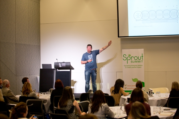 StartSomeGood CEO Tom Dawkins presenting at Sprout Summit last year.
